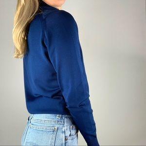 Vintage Sweaters - Vintage Cobalt Mockneck Embroidered Knit Sweater